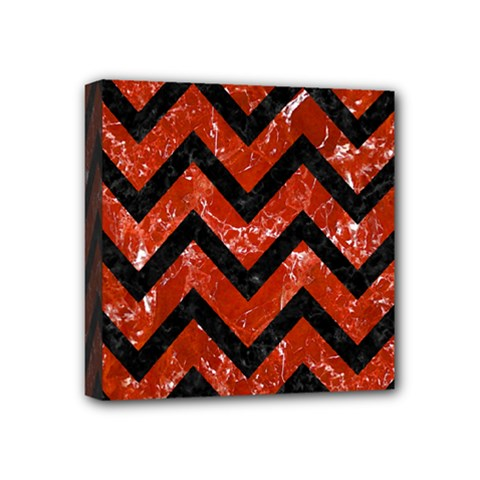 Chevron9 Black Marble & Red Marble (r) Mini Canvas 4  X 4  (stretched)