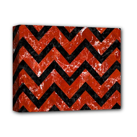 Chevron9 Black Marble & Red Marble (r) Deluxe Canvas 14  X 11  (stretched)