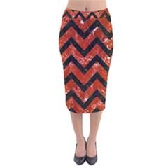 CHV9 BK-RD MARBLE (R) Velvet Midi Pencil Skirt