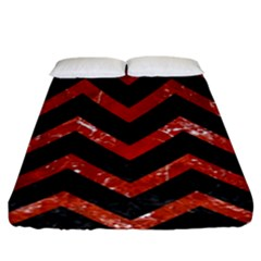 Chevron9 Black Marble & Red Marble Fitted Sheet (king Size)