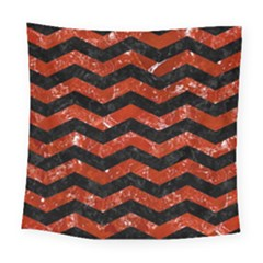 Chevron3 Black Marble & Red Marble Square Tapestry (large)
