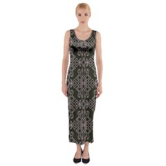 Line Geometry Pattern Geometric Fitted Maxi Dress
