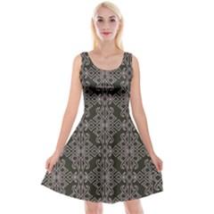 Line Geometry Pattern Geometric Reversible Velvet Sleeveless Dress