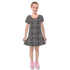 Line Geometry Pattern Geometric Kids  Short Sleeve Velvet Dress