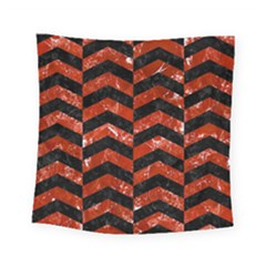Chevron2 Black Marble & Red Marble Square Tapestry (small)