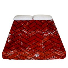 Brick2 Black Marble & Red Marble (r) Fitted Sheet (queen Size)