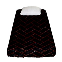 Brick2 Black Marble & Red Marble Fitted Sheet (single Size)