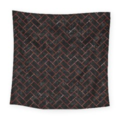 Brick2 Black Marble & Red Marble Square Tapestry (large)