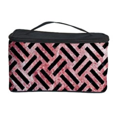 Woven2 Black Marble & Red & White Marble (r) Cosmetic Storage Case