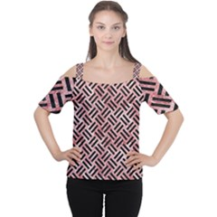 Woven2 Black Marble & Red & White Marble (r) Cutout Shoulder Tee