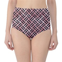 Woven2 Black Marble & Red & White Marble (r) High Waist Bikini Bottoms
