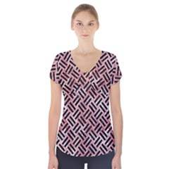 Woven2 Black Marble & Red & White Marble (r) Short Sleeve Front Detail Top