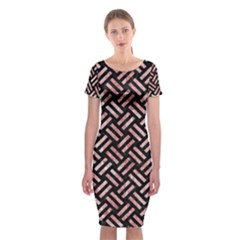 Woven2 Black Marble & Red & White Marble Classic Short Sleeve Midi Dress