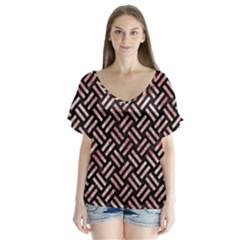 Woven2 Black Marble & Red & White Marble V Neck Flutter Sleeve Top