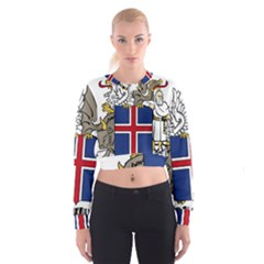 Coat Of Arms Of Iceland Women s Cropped Sweatshirt