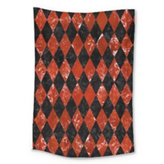 Diamond1 Black Marble & Red Marble Large Tapestry