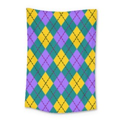 Texture Background Argyle Teal Small Tapestry