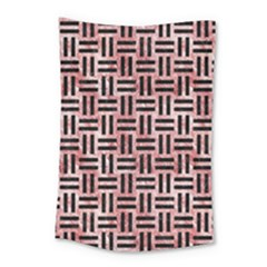 Woven1 Black Marble & Red & White Marble (r) Small Tapestry