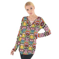 Eye Owl Colorful Cute Animals Bird Copy Women s Tie Up Tee