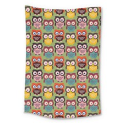 Eye Owl Colorful Cute Animals Bird Copy Large Tapestry