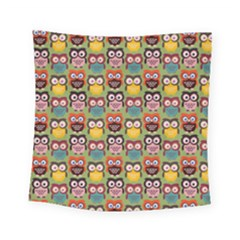 Eye Owl Colorful Cute Animals Bird Copy Square Tapestry (small)