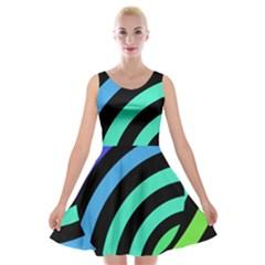 Colorful Roulette Ball Velvet Skater Dress