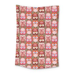 Eye Owl Colorfull Pink Orange Brown Copy Small Tapestry