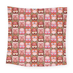 Eye Owl Colorfull Pink Orange Brown Copy Square Tapestry (large)