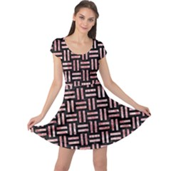 Woven1 Black Marble & Red & White Marble Cap Sleeve Dress