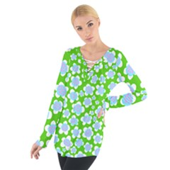 Flower Green Copy Women s Tie Up Tee