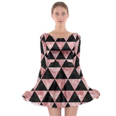 Triangle3 Black Marble & Red & White Marble Long Sleeve Skater Dress