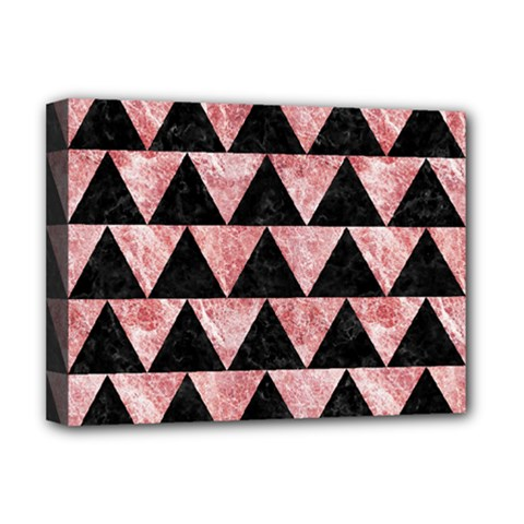 Triangle2 Black Marble & Red & White Marble Deluxe Canvas 16  X 12  (stretched)