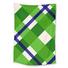 Green Plaid Large Tapestry