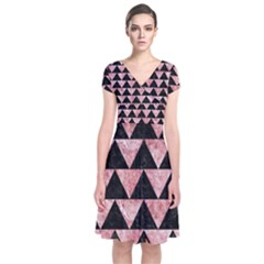 Triangle2 Black Marble & Red & White Marble Short Sleeve Front Wrap Dress