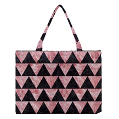 Triangle2 Black Marble & Red & White Marble Medium Tote Bag