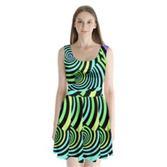 Optical Illusions Checkered Basic Optical Bending Pictures Cat Split Back Mini Dress