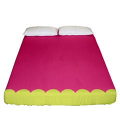Pink Yellow Fitted Sheet (queen Size)