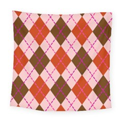 Texture Background Argyle Brown Square Tapestry (large)