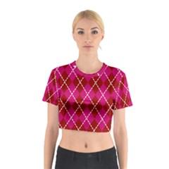 Texture Background Argyle Pink Red Cotton Crop Top