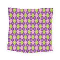 Purple Green Argyle Background Square Tapestry (small)