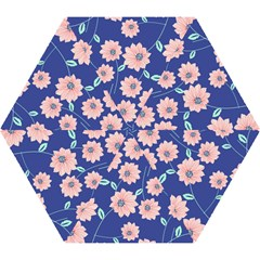 Seamless Blue Floral Mini Folding Umbrellas