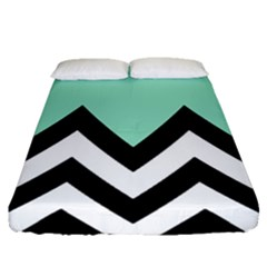 Mint Green Chevron Fitted Sheet (queen Size)