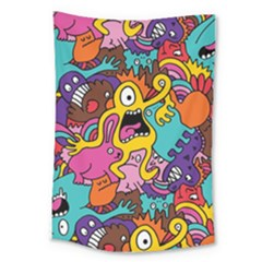 Monsters Pattern Large Tapestry