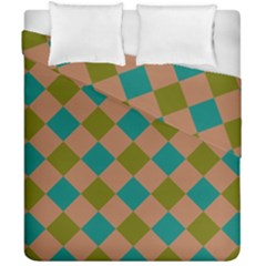 Plaid Box Brown Blue Duvet Cover Double Side (california King Size)