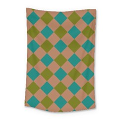 Plaid Box Brown Blue Small Tapestry