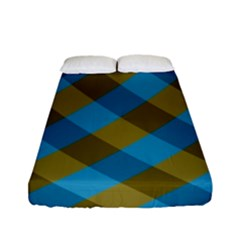 Plaid Line Brown Blue Box Fitted Sheet (full/ Double Size)