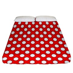 Red Circular Pattern Fitted Sheet (king Size)
