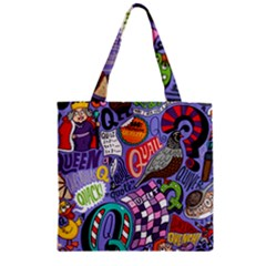 Q Pattern Zipper Grocery Tote Bag