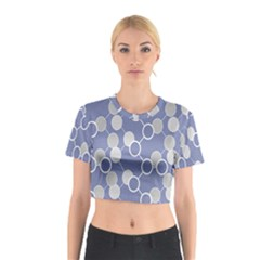 Round Blue Cotton Crop Top