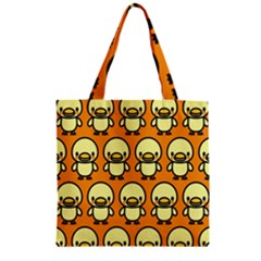 Small Duck Yellow Zipper Grocery Tote Bag